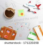travel concept. the plane  cup... | Shutterstock .eps vector #171220358