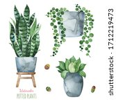 Watercolor Potted Plants Set...