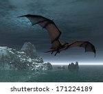 red dragon flying over the sea... | Shutterstock . vector #171224189