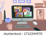chatting with friends or family ... | Shutterstock .eps vector #1712244970