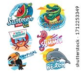 set of stickers for summer logo | Shutterstock .eps vector #1712253349
