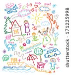 multicolored child drawing... | Shutterstock .eps vector #171225998
