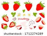 fresh strawberries isolated on... | Shutterstock .eps vector #1712274289