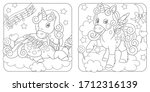 unicorn coloring pages. cartoon ... | Shutterstock .eps vector #1712316139