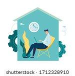 vector illustration  work from... | Shutterstock .eps vector #1712328910