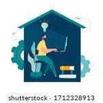 vector illustration  work from... | Shutterstock .eps vector #1712328913