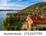 "Small photo of Tegernsee, Germany. Lake Tegernsee in Rottach-Egern (Bavaria), Germany near the Austrian border. Aerial view of the lake ""Tegernsee"" in the Alps of Bavaria. Bad Wiessee. Tegernsee lake in Bavaria."