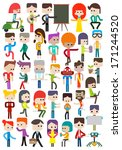 Set of different cartoon characters people, vector illustration