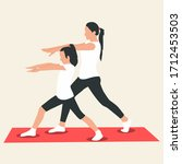 mother exercising along with... | Shutterstock .eps vector #1712453503
