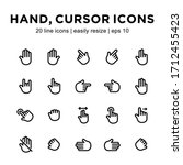 set of hand cursor line icons ...