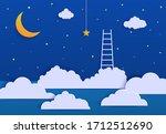 white ladder to pick the star...   Shutterstock .eps vector #1712512690