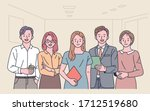 office workers are standing in... | Shutterstock .eps vector #1712519680