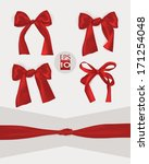 set of red gift bows  | Shutterstock .eps vector #171254048