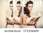 gorgeous bride blonde in... | Shutterstock . vector #171256604