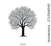 Tree Shape With Leaves. Vector...