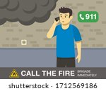 fire safety activity. young man ... | Shutterstock .eps vector #1712569186