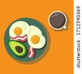 morning meal. healthy breakfast ...   Shutterstock .eps vector #1712590369