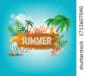 summer flyer on the beach... | Shutterstock .eps vector #1712607040