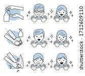 hand wash  family   vector eps... | Shutterstock .eps vector #1712609110