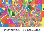 Colorful vector map of Red Deer, Alberta, Canada. Art Map template for selfprinting wall art in landscape format.