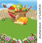 wheelbarrow with vegetables | Shutterstock .eps vector #171263924