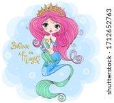 hand drawn cute little mermaid...   Shutterstock .eps vector #1712652763