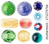 Colorful Glass Beads Isolated...