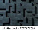 Small photo of Black, tetris like, wall made up of geometric shapes. Intriguing facade designed as an optical illusion. Abstract architecture background.