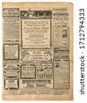 Old Newspaper Page With Vintage ...