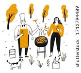 couples are grilling on a sunny ...   Shutterstock .eps vector #1712794489