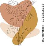 boho wall art print. one line... | Shutterstock .eps vector #1712816113