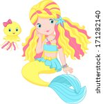 background,character,cheerful,child,cute,fantasy,friend,girl,illustration,isolated,jellyfish,medusa,mermaid,pet,princess