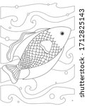 goldfish coloring page with...   Shutterstock .eps vector #1712825143