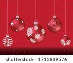 red christmas balls on shiny... | Shutterstock .eps vector #1712839576