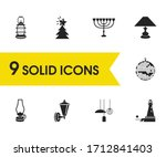 bright icons set with menorah ...