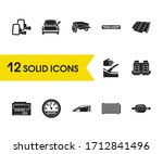 vehicle icons set with car trip ...