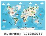 the world map with cartoon... | Shutterstock .eps vector #1712860156