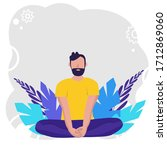man doing yoga for yoga day... | Shutterstock .eps vector #1712869060