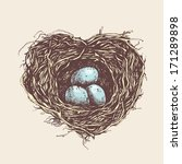 heart shaped  nest with eggs....   Shutterstock .eps vector #171289898