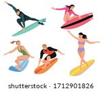 set of surfers. collection of... | Shutterstock .eps vector #1712901826