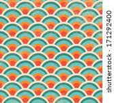Vector Seamless Geometric Circles Background with Grunge Texture, Hipster Style, Seamless Pattern, Illustration