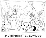 animals in the wood  black and... | Shutterstock .eps vector #171294398