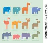 Stock vector animals set 171295943