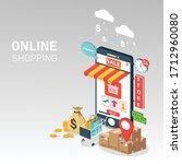 online shopping on mobile....   Shutterstock .eps vector #1712960080