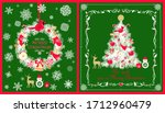 christmas greeting craft green... | Shutterstock . vector #1712960479