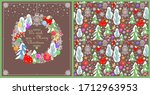 christmas greeting craft card... | Shutterstock . vector #1712963953