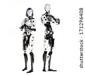 Female and male cyber robot posing on a white background. - stock photo