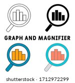 graph and magnifier icon set....