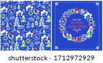 christmas design with childish... | Shutterstock . vector #1712972929