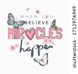 miracle slogan with flowers and ... | Shutterstock .eps vector #1712976949
